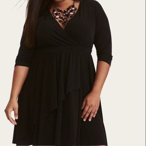 Torrid 2 Faux Wrap Black Dress